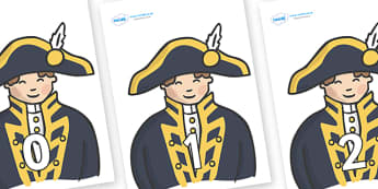 Numbers 0-31 on Admirals - 0-31, foundation stage numeracy, Number recognition, Number flashcards, counting, number frieze, Display numbers, number posters