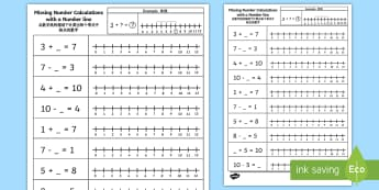Missing Number Calculations with a Number Line Activity Sheet English/Mandarin Chinese - Missing Number Calculations with a Number Line Activity Sheet, numberline, worksheet, EAL