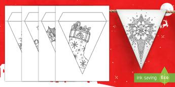 Immagini di Natale da colorare Le bandierine - natalizio, festivo, vigilia, colori, italiano, italian, materiale, scolastico-