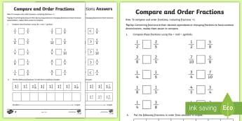 Year 6 Order Fractions Activity Sheet - Key Stage 2, KS2, Maths, Fractions, worksheet