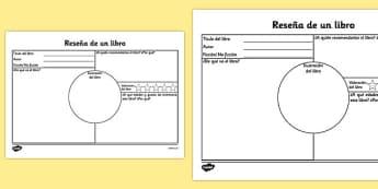 Ficha de actividad - reseña de libro - comprehensión, sumario, lectura, leer, gusto por la lectura