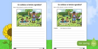 Ćwiczenie do nauki pisania Letni ogród - pisanie, praca, pisemna, grill, basen, pory, roku, lato,
