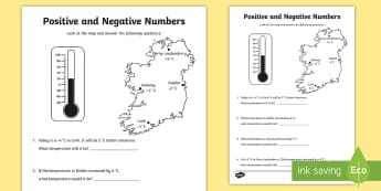 Positive and Negative Numbers Activity Sheet - postive, negative, Directed, Numbers, identify positive and negative numbers in context,Irish