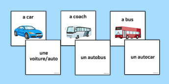 Transport Vocabulary Matching Cards French - travel, travelling, car, plane, train, foot, bike