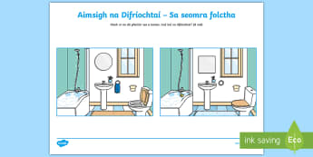 Spot the Differences in the Bathroom Activity Sheet Gaeilge - Sa Bhaile, Spot the Differences, Seomra Folctha,Irish