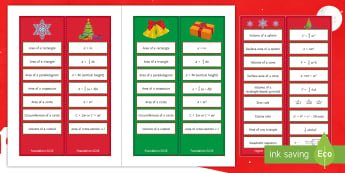 Christmas GGSE Maths Formulae Differentiated Reward Bookmarks - reward, Christmas, maths, bookmarks, revision, GCSE, fomuale, formula, need to know, prompt, reminde