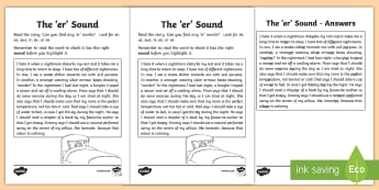 Northern Ireland Linguistic Phonics Stage 5 and 6, Phase 4b, 'er' Sound Text Worksheet / Activity Sheet - NI, Linguistic Phonics, Stage 5, Stage 6, Phase 4b, Northern Ireland, Worksheet, 'er' sound, sou