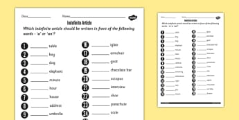 Indefinite Article Worksheet - indefinite, article, worksheet