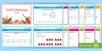 Chilli Challenge Year 3 Fractions Differentiated Maths Challenge Cards - recognise Name and write fractions, equal parts, dividing,equivalence, calculate, denominator, compa