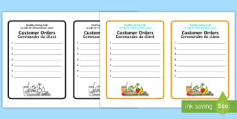 Healthy Eating Cafe Role Play Order Forms English/French - healthy eating cafe, role play, healthy eating,order forms for cafe