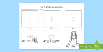Stop, Drop and Roll Sequencing Activity Sheet - fire safety, stop, drop and roll, fire safety activity sheet, sequencing, fire safety sequencing, wo