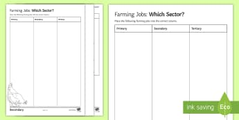 Food and Farming: Farming Job: Which Sector? Activity Sheet  - primary, secondary, tertiary, quaternary, farming, employment, economy
