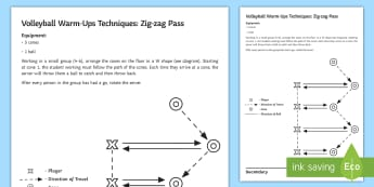 Volleyball Warm-Up: Zig Zag Pass Techniques Card  - volleyball, warm-up, warm, up, pass, zig, zag