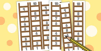 Ladder Missing Number to 10 Worksheet / Activity Sheets - ladder, numbers, maths, Count, numbers to 10, missing number, numeral recognition