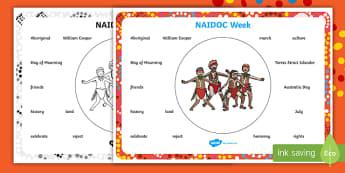 NAIDOC Week Word Mat - Australia, History, Indigenous, Aboriginal, people, Day of Mourning,Australia