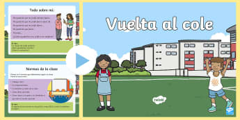 Presentación: Primer día de clase - Vuelta al cole - vuelta, septiembre, romper el hielo, vacaciones, escritura.,Spanish