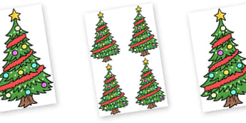Editable Decorated Christmas Trees - Christmas, xmas, tree, editable, tree, advent, nativity, santa, father christmas, Jesus, tree, stocking, present, activity, cracker, angel, snowman, advent , bauble