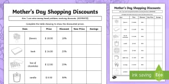 Mother's Day Shopping Discounts Activity Sheet - Mother's Day Maths, maths, mother, mother's day, mum, addition, subtraction, multiplication, divis