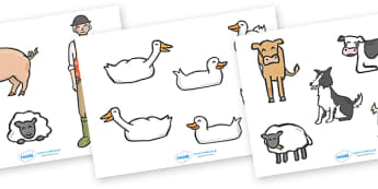 Story Cut Outs to Support Teaching on Pig in the Pond - Pig in the Pond, Martin Waddell, resources, Very Hot Day, Neligan, Neligan's pig, ducks, geese, pond, animals, story, story book, story book resources, story sequencing, story resources,