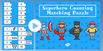 Superhero Themed Counting Puzzle Activity presentation -