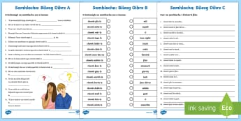Irish Similes Worksheet / Activity Sheets Gaeilge