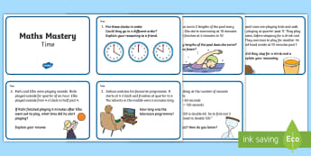 Year 2 Time Maths Mastery Challenge Cards  - reasoning, number talks, hour, minute, second, measurement, calendar, month, day, week, year, decade