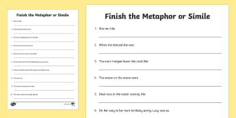 Finish the Metaphor or Simile Activity Sheet - metaphor, simile, smile, figurative, language, writing, vocabulary, poem, poetry, poems, figure of s