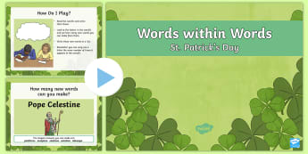 KS2 Words within Words Game St. Patrick's Day PowerPoint - st paddy, saint patrick, word scramble, unscramble, game, boggle, Ireland, patron saint, shamrock, l