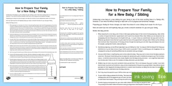 How to Prepare Your Family for a New Baby Guide - change, family, young people, transition, children, PSHE, behaviour