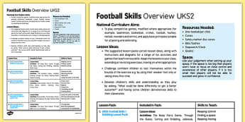 Football Skills Overview UKS2 - football, PE, sport, exercise, KS2, UKS2, Key Stage 2, year 5, year 6, skills, physical education, ball skills, team sports