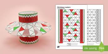 3D Christmas Lantern Activity Paper Craft English/Portuguese - christmas, lantern, origami, decoration, eal