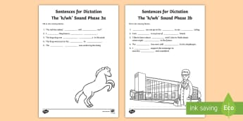Northern Ireland Linguistic Phonics Stage 5 and 6, Phase 3a and 3b, 'h, wh' Dictation Sentences Activity - Linguistic Phonics, Stage 5, Stage 6, Phase 3a, Phase 3b, Northern Ireland, sentences, dictation, wo