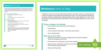 Meltdowns How to Help Information Sheet - autism, meltdown, tantrum, behaviour management, sensory overload