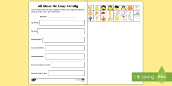 KS1 All about Me Emoji Activity Sheet - back to school, transition, fact file, smileys, Ourselves, Worksheet