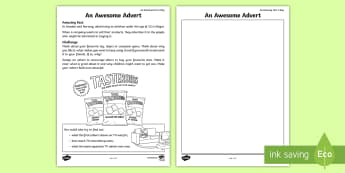 An Awesome Advert Activity Sheet - amazing fact august, advertising, amazing fact, KS1, english, writing for different purposes, worksh