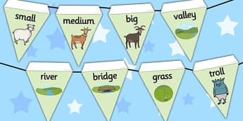 The Three Billy Goats Gruff Bunting - bunting, display, goats