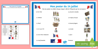 Feuille d'activités : Mon poster du 14 juillet - Histoire, Cycle 3, Révolution, Bastille, Noblesse, Clergé, Tiers État,French