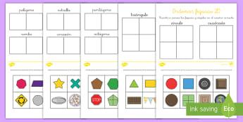 Ficha de actividad: Ordenar figuras 2D - ordenar figuras, ordenar, emparejar, parejas, figuras planas, figuras 2D, formas 2D, formas planas,