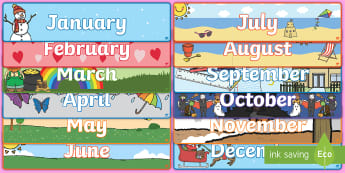 Months of the Year Banner Display Pack  - mathematical, language, vocabulary, time, classroom