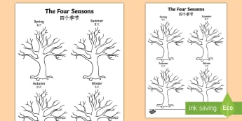 Four Seasons Tree Writing Template English/Mandarin Chinese - spring, summer, autumn, winter, EAL, changes, trees, leaves