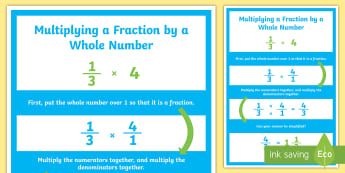 Multiplying Fractions by Whole Numbers Display Poster - multiplying fractions, multiplying fractions by whole numbers, whole numbers, multiplication, repeat