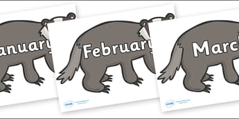 Months of the Year on Badgers - Months of the Year, Months poster, Months display, display, poster, frieze, Months, month, January, February, March, April, May, June, July, August, September