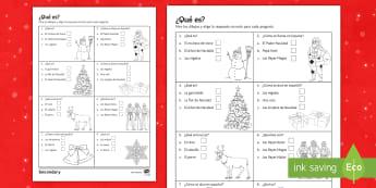 Christmas Quiz Activity Sheet Spanish - Christmas, new, year, vocabulary, reading, worksheet