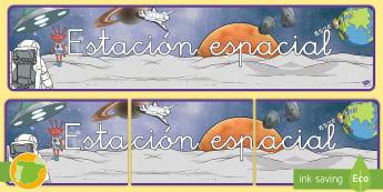 Pancarta: Estación espacial - pósteres, poster, posters, póster, espacio, espacial, actuar, actuación juego, jugar, roles, rol,