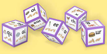 Phase 3 Phoneme Sound Dice Net with Images and British Sign Language