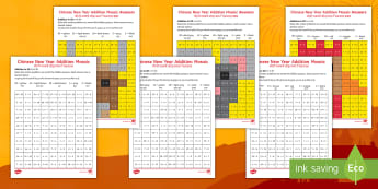 Chinese New Year Animals Addition Mosaic Worksheet / Activity Sheets English/Hindi - Chinese New Year, Celebration, festivals, rooster, colours, maths, addition