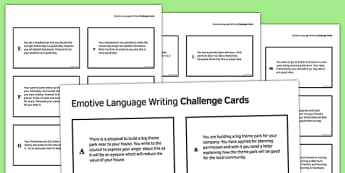 Emotive Language Writing Challenge Cards - emotive, language, writing challenge, cards