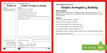 Problem Mathemateg Danfon Anrhegion y Nadolig Taflen Weithgaredd-nadoli, ndolig, Problem Mathemateg, Danfon anrhegion Nadolig, Mathemateg Nadolig, Rhesymu,Welsh