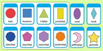 Karty Figury geometryczne płaskie - geometria, matematyka, geometryczne, trójkąt, koło, kwadrat, figury, płaskie, prostokąt, nazywa