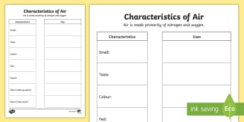 Characteristics of Air Worksheet / Activity Sheets - Spring Resources, air, characteristics, uses, science and technology, investigation, experimentation